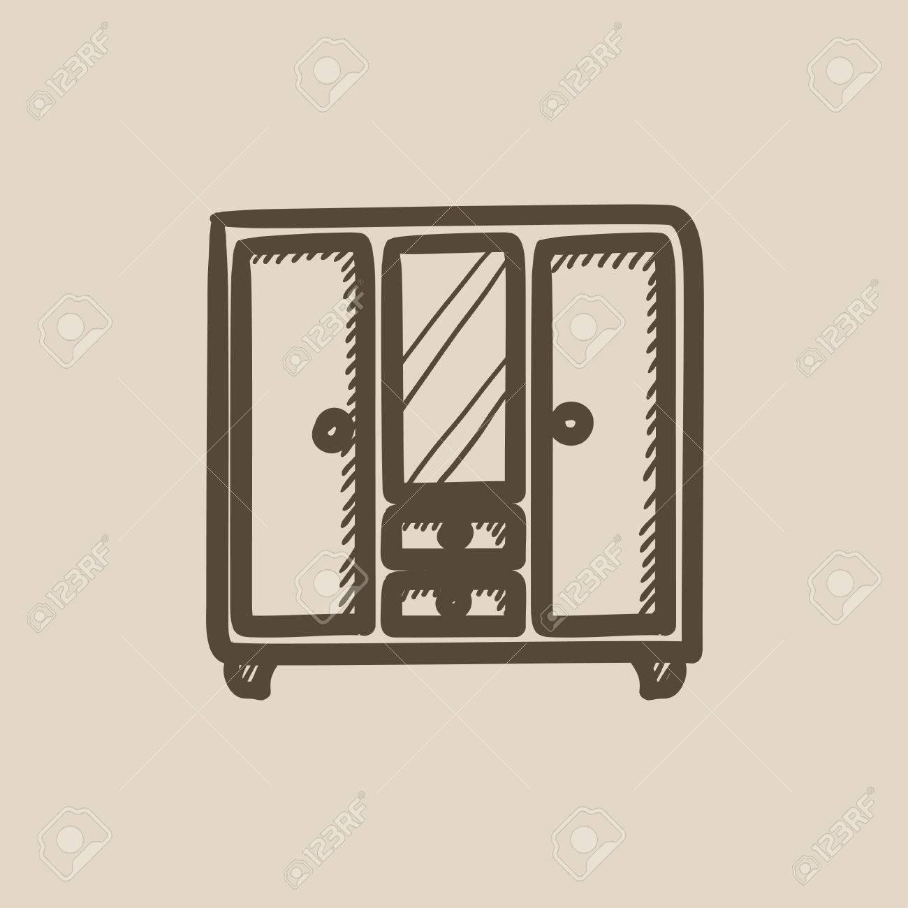 Kleiderschrank gezeichnet  Kleiderschrank Mit Spiegel Vektor Skizze Symbol Isoliert Auf Den ...