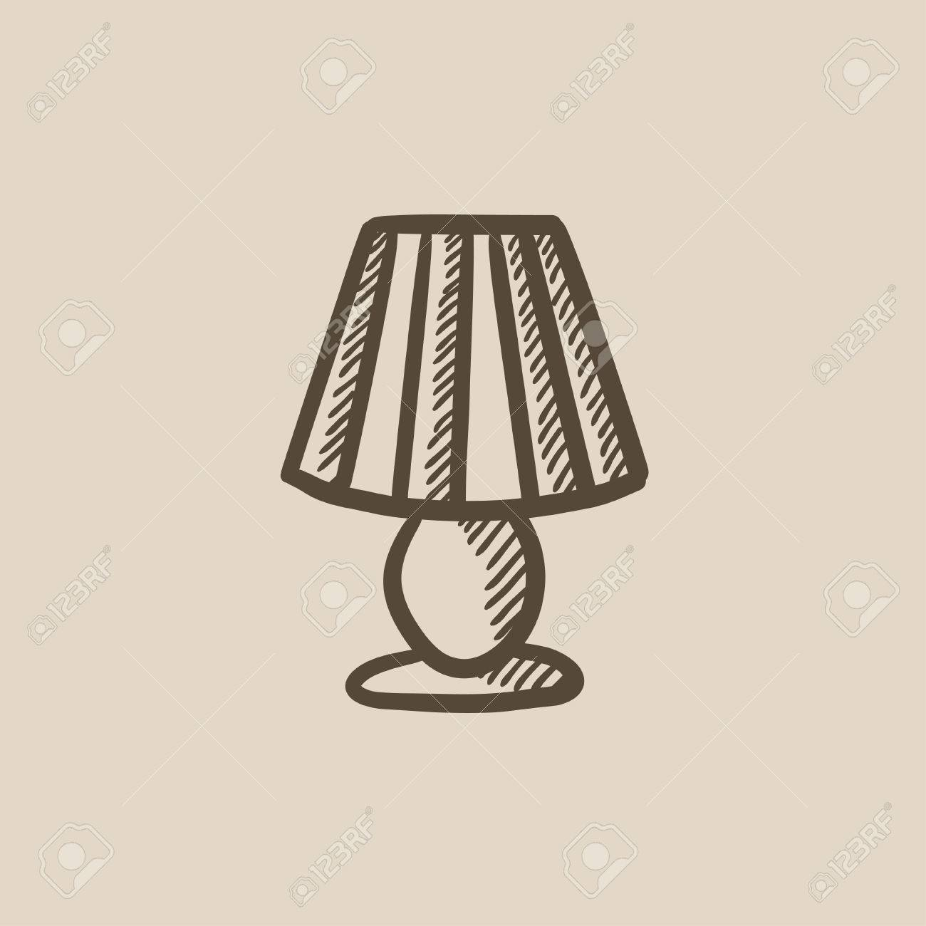 Table lamp for drawing - Table Lamp Vector Sketch Icon Isolated On Background Hand Drawn Table Lamp Icon Table