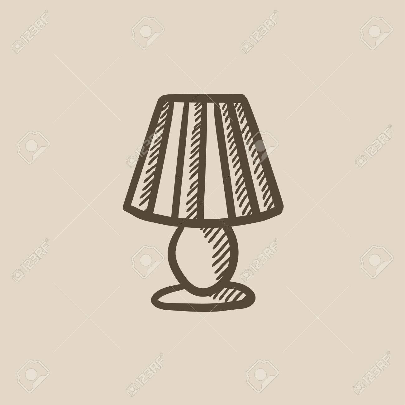 Tischlampe gezeichnet  Tischlampe Vektor Skizze Symbol Auf Hintergrund Isoliert ...