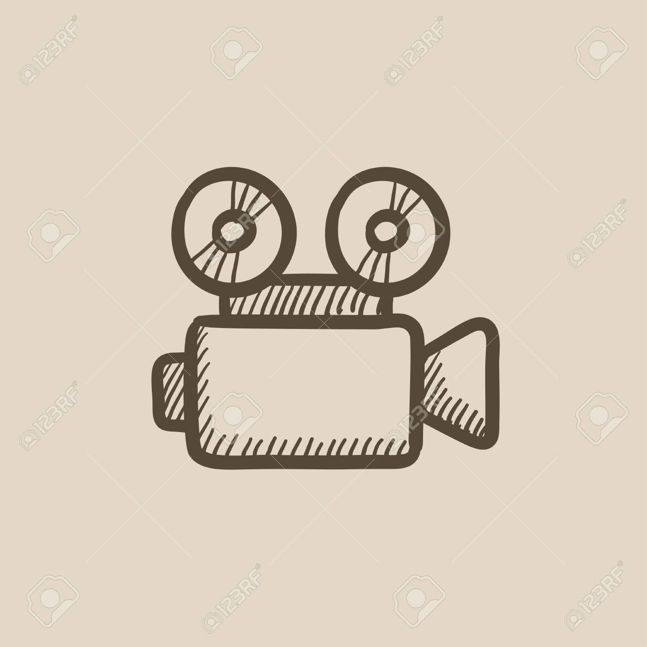 La Cámara De Vídeo Dibujo Icono Del Vector Aislado En El Fondo Dibujado A Mano Icono De La Cámara De Vídeo Dibujo Icono De La Cámara De Vídeo Para