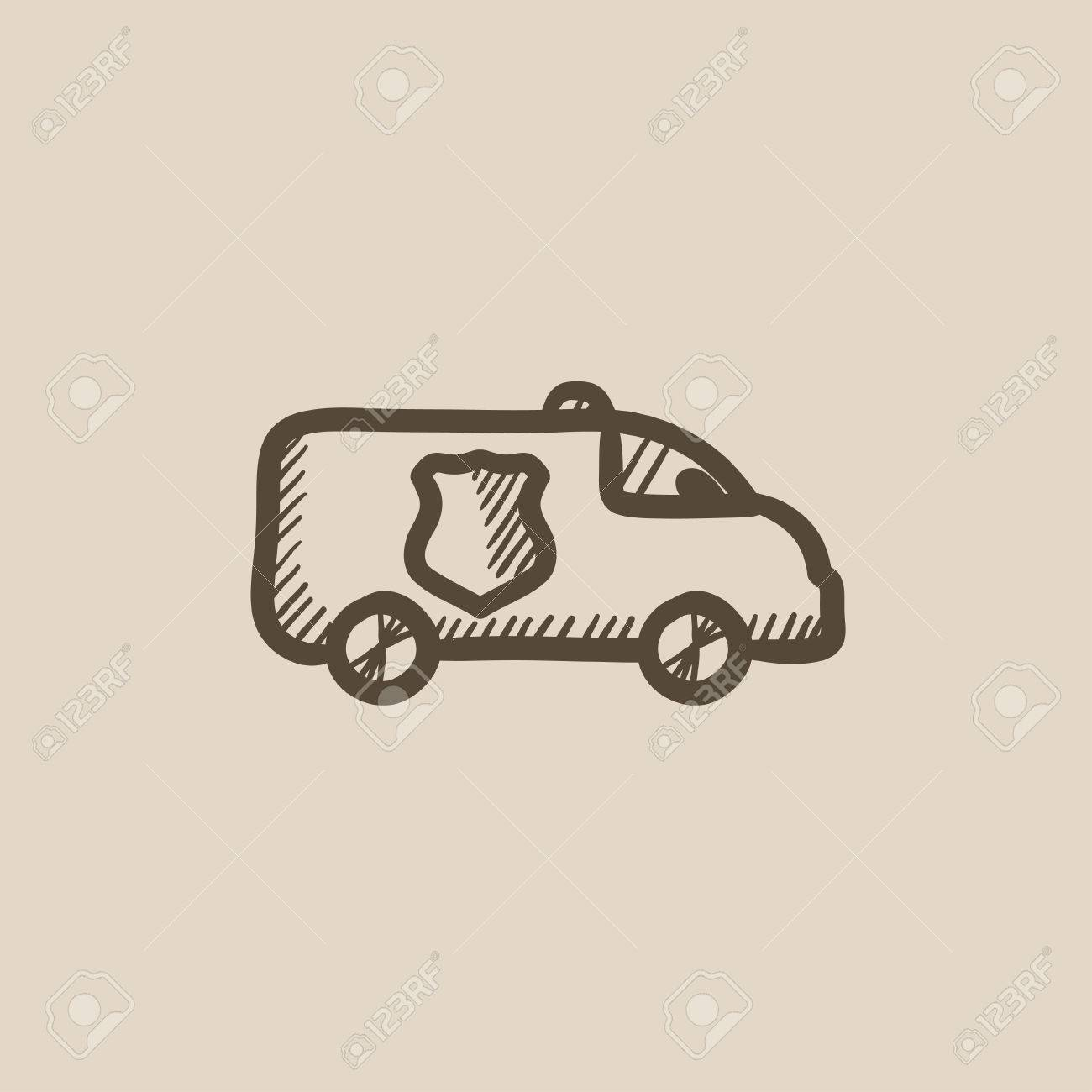 Police Car Website >> Police Car Vector Sketch Icon Isolated On Background Hand Drawn Police Car Icon Police Car Sketch Icon For Infographic Website Or App