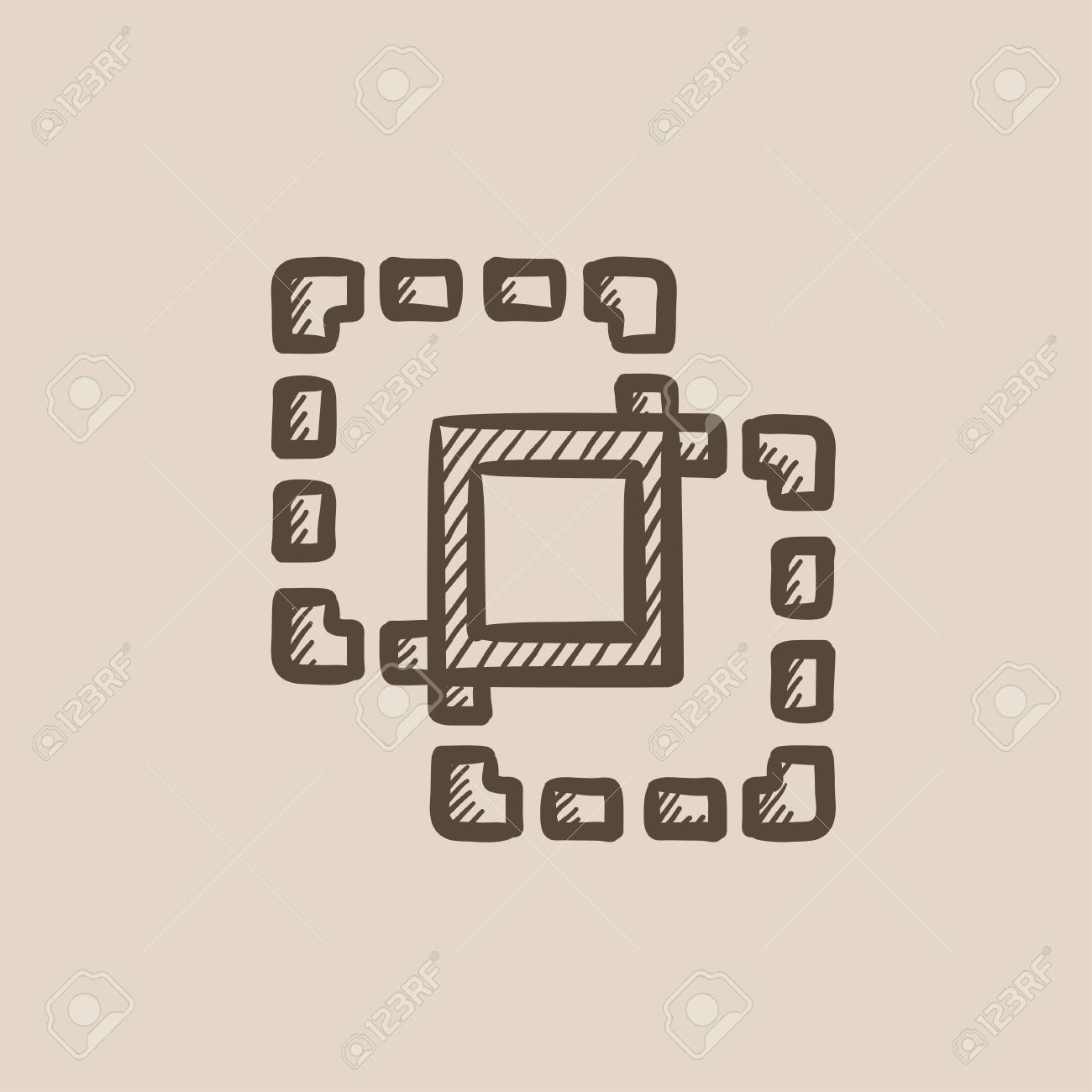 Crop vector sketch icon isolated on background  Hand drawn Crop