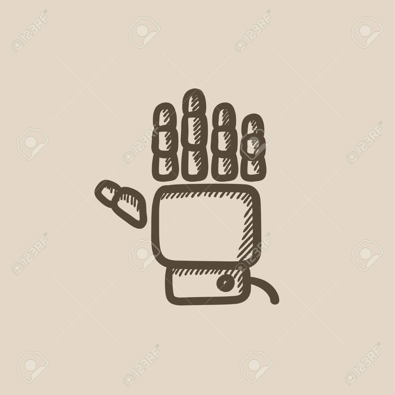 Robot hand vector sketch icon isolated on background  Hand drawn