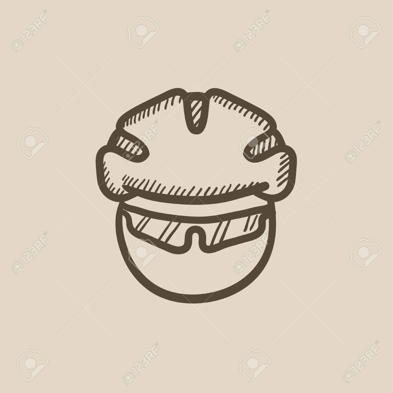 Man In Bicycle Helmet And Glasses Vector Sketch Icon Isolated