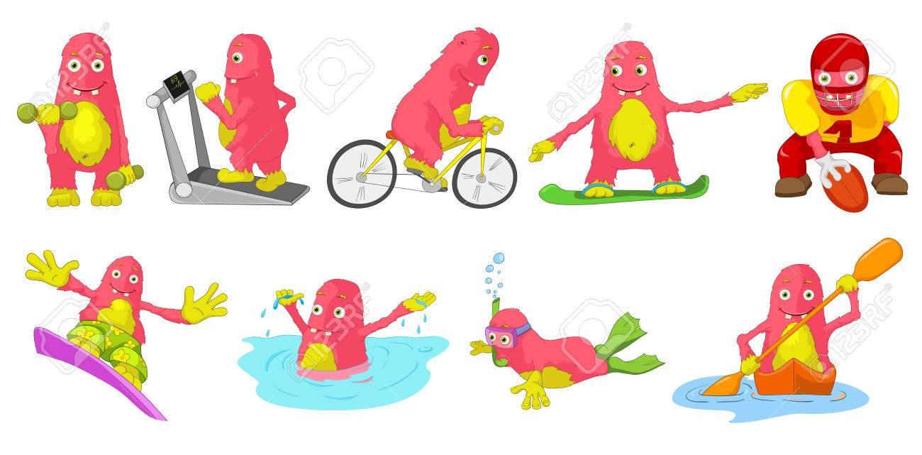 かわいい大きなピンク モンスター スポーツではトレッドミル自転車