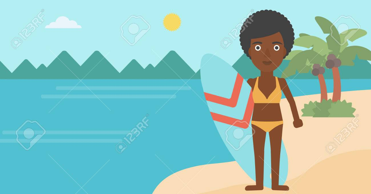 アフリカ系アメリカ人の女性サーファー ビーチにサーフボードを抱えて