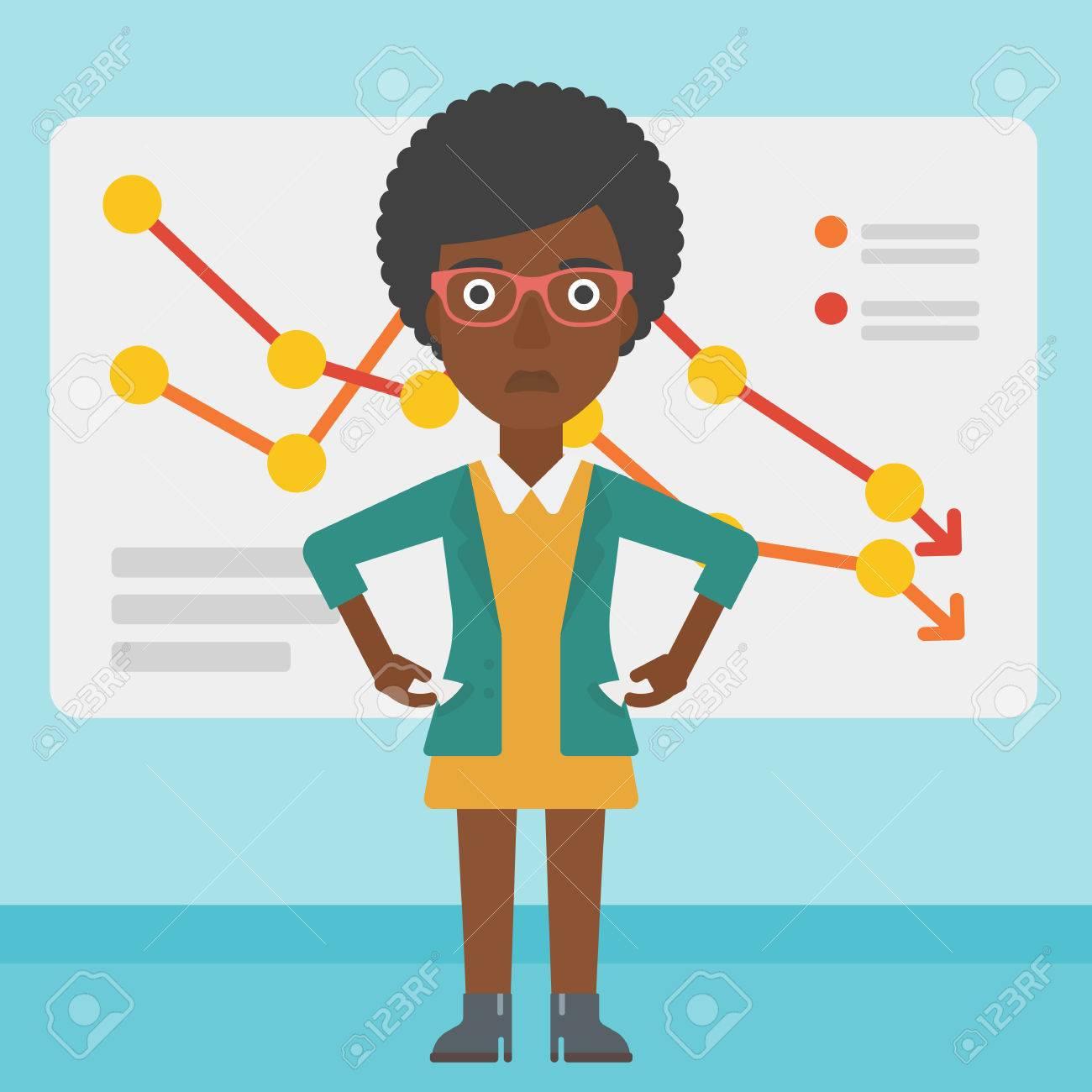 Eine Afro-amerikanische Frau Geschäft Mit Abnehmendem Diagramm Ihre ...