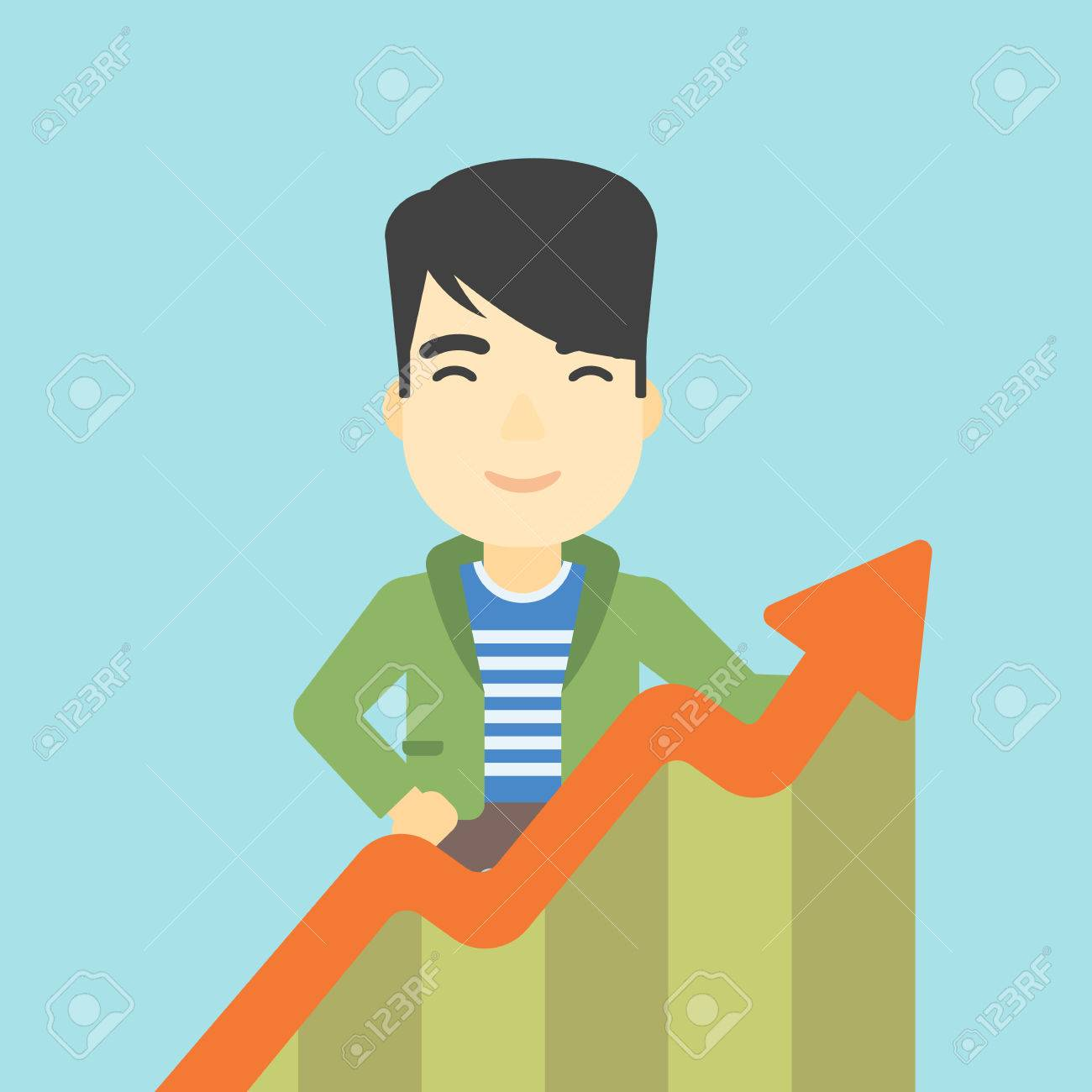 An Asian Young Happy Businessman Standing Behind Growing Chart ...