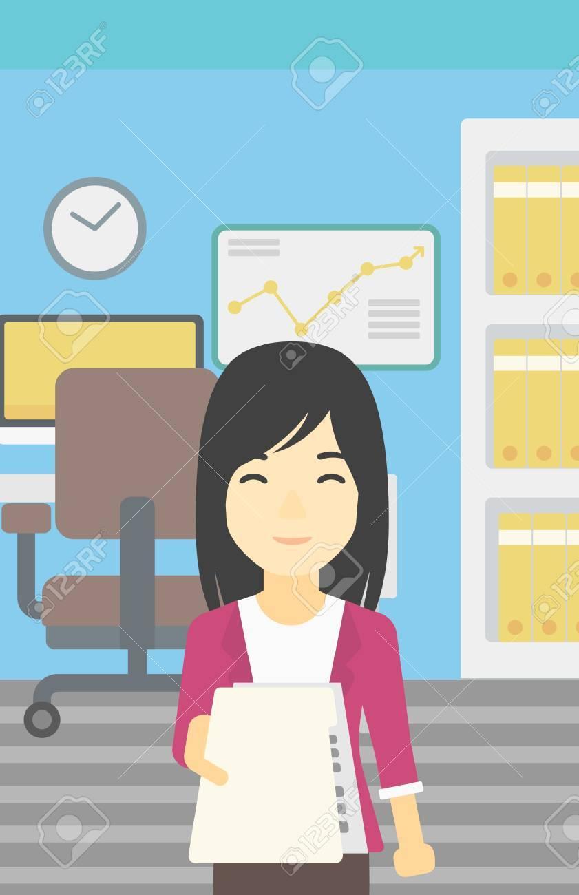 Una Mujer De Negocios Joven Asiático Dando Un Curriculum Vitae En El ...