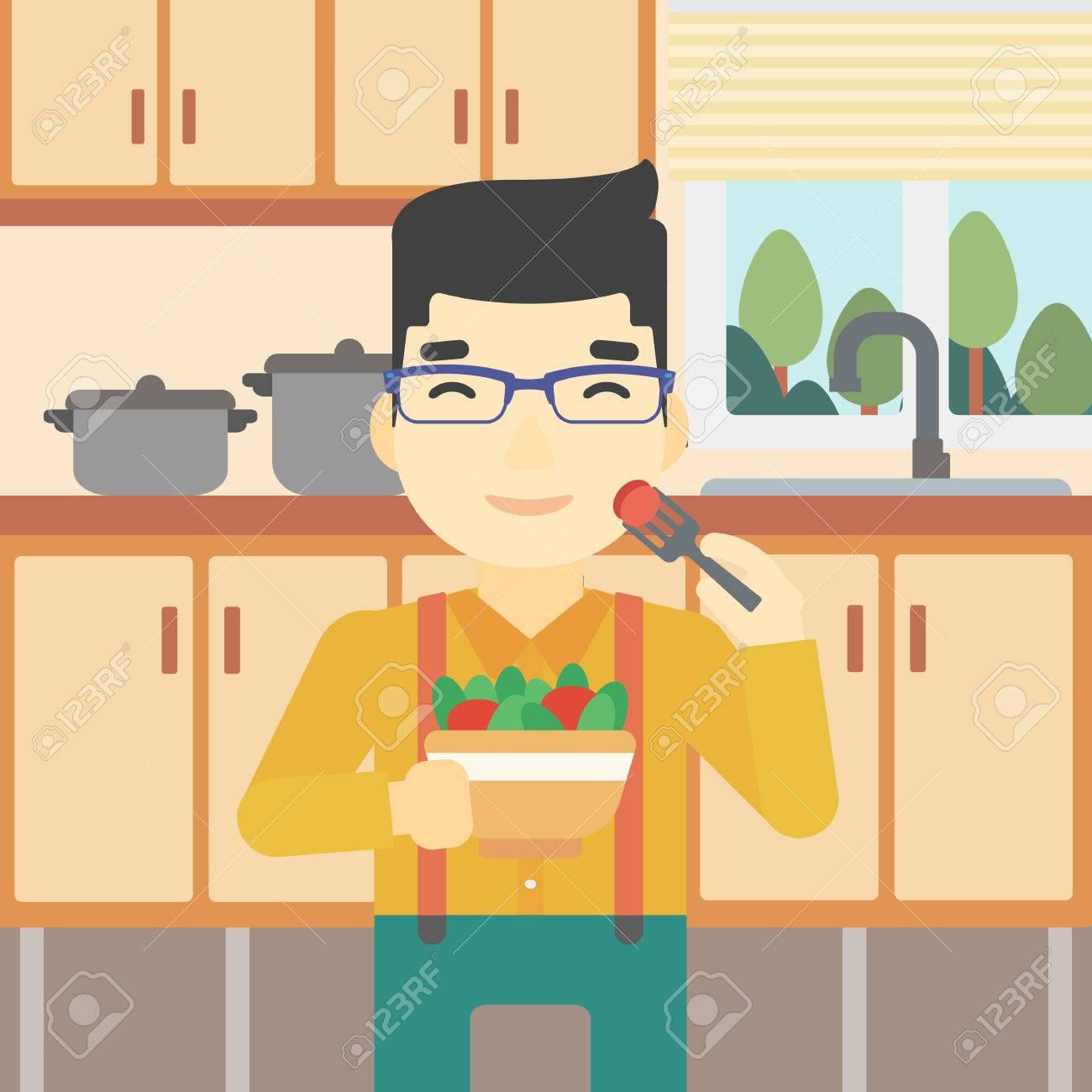 Ein Asiatischer Mann Essen Gesund Gemüsesalat. Junger Mann Zu Hause ...