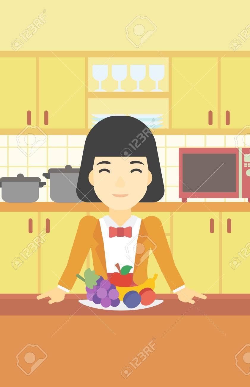Una Mujer Asiática De Pie Delante De La Mesa Llena De Frutas Frescas ...