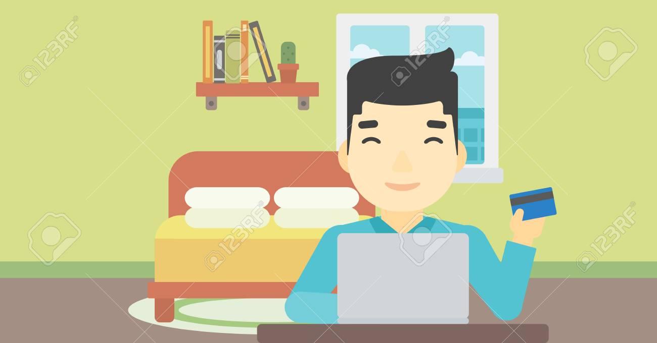Ein Asiatischer Mann, Der Eine Kreditkarte Und Mit Laptop Für Online ...