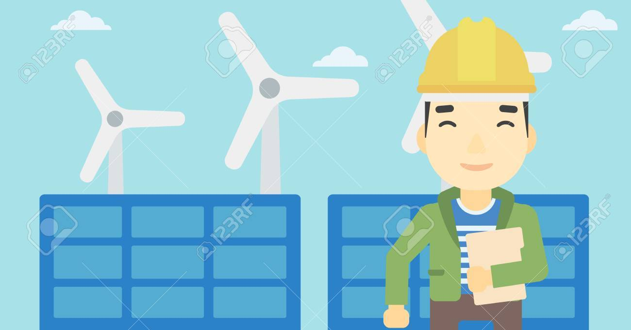 An Asian Worker Of Solar Power Plant And Wind Farm Man With Layout Design Folder On Background