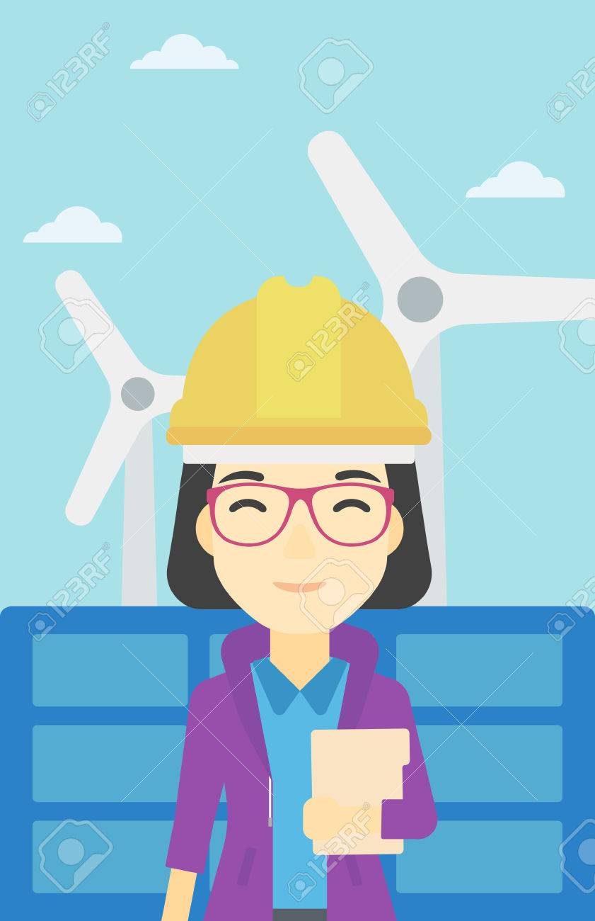 An asian worker of solar power plant and wind farm  Woman with
