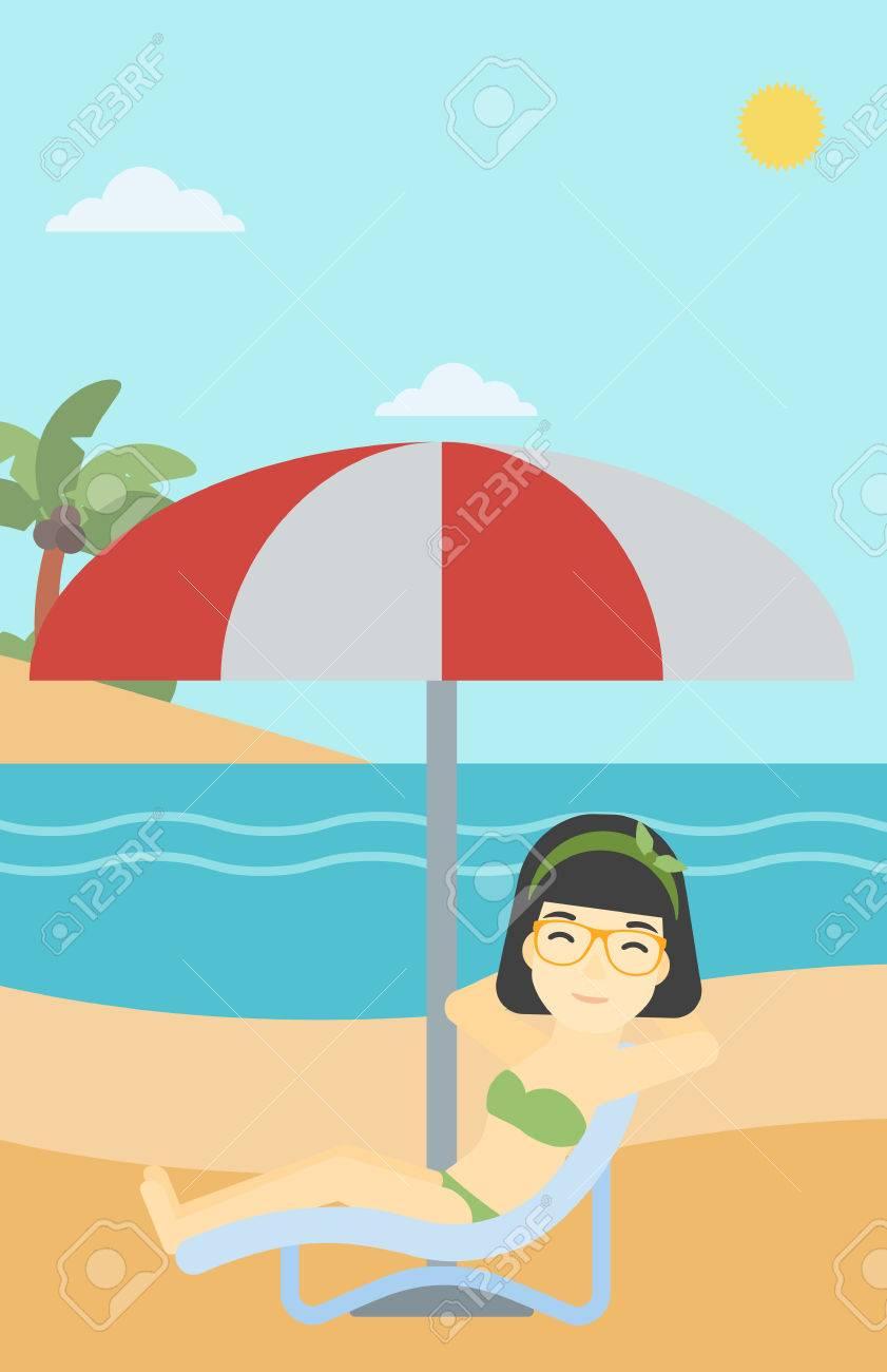 Asian BeachWoman Chaise An In Longue Woman Sitting The A On fyb76g