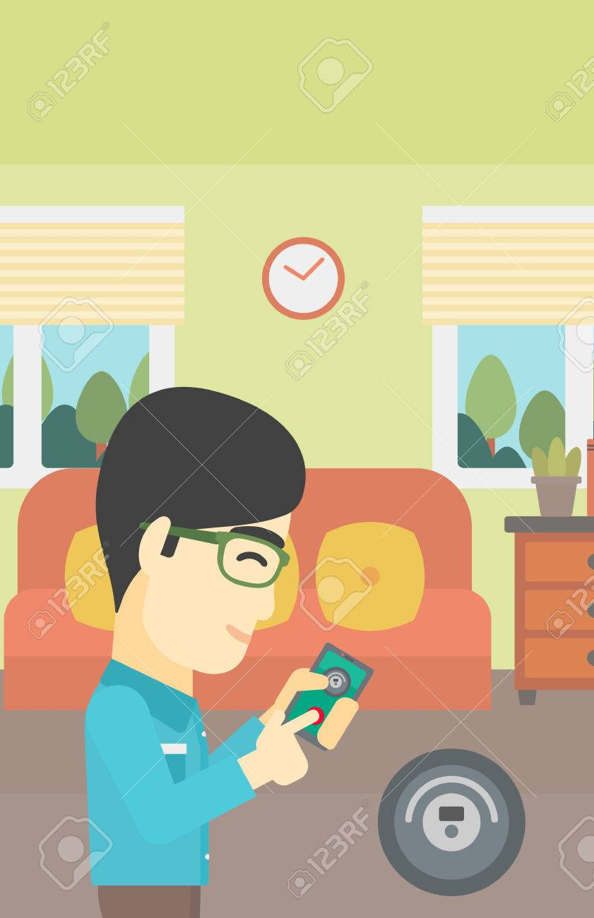 An Asian Man Controlling Robotic Vacuum Cleaner With His Smartphone