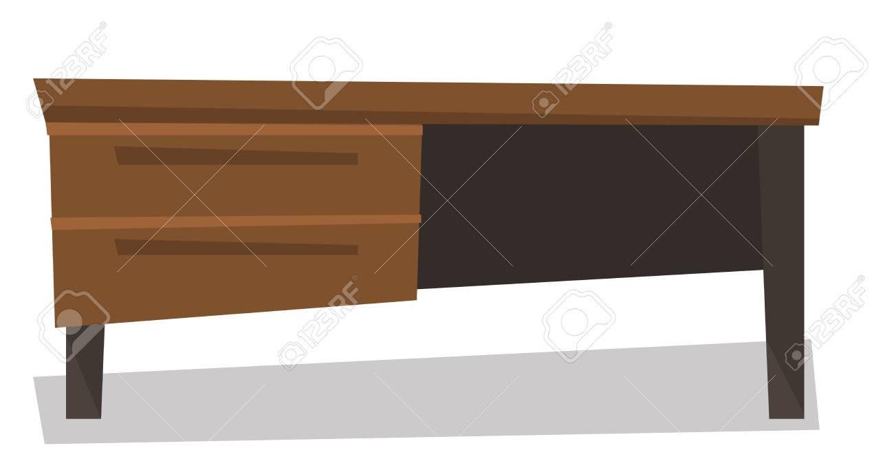 Bureau en bois avec tiroirs vecteur design plat illustration isolé
