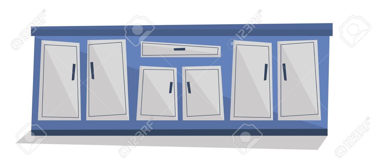 Mueble de cocina con cajones ilustración vectorial diseño plano ...