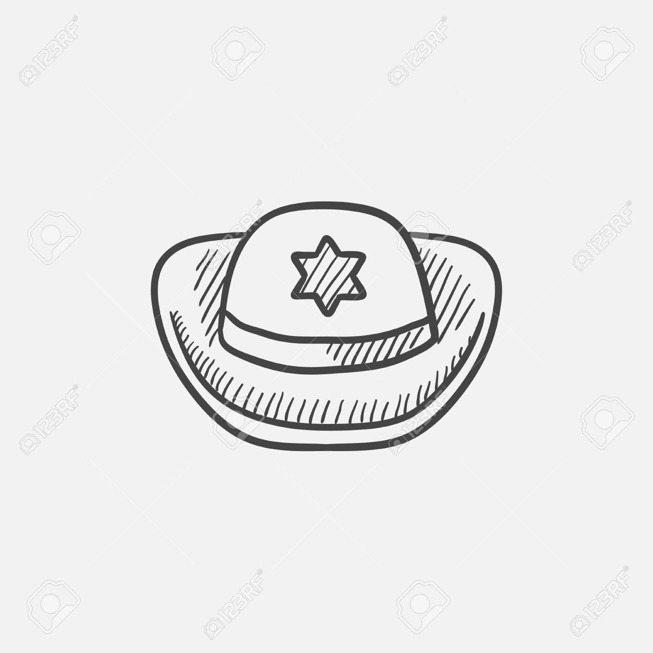 0c7449b0f21 Sheriff Hat Sketch Icon For Web