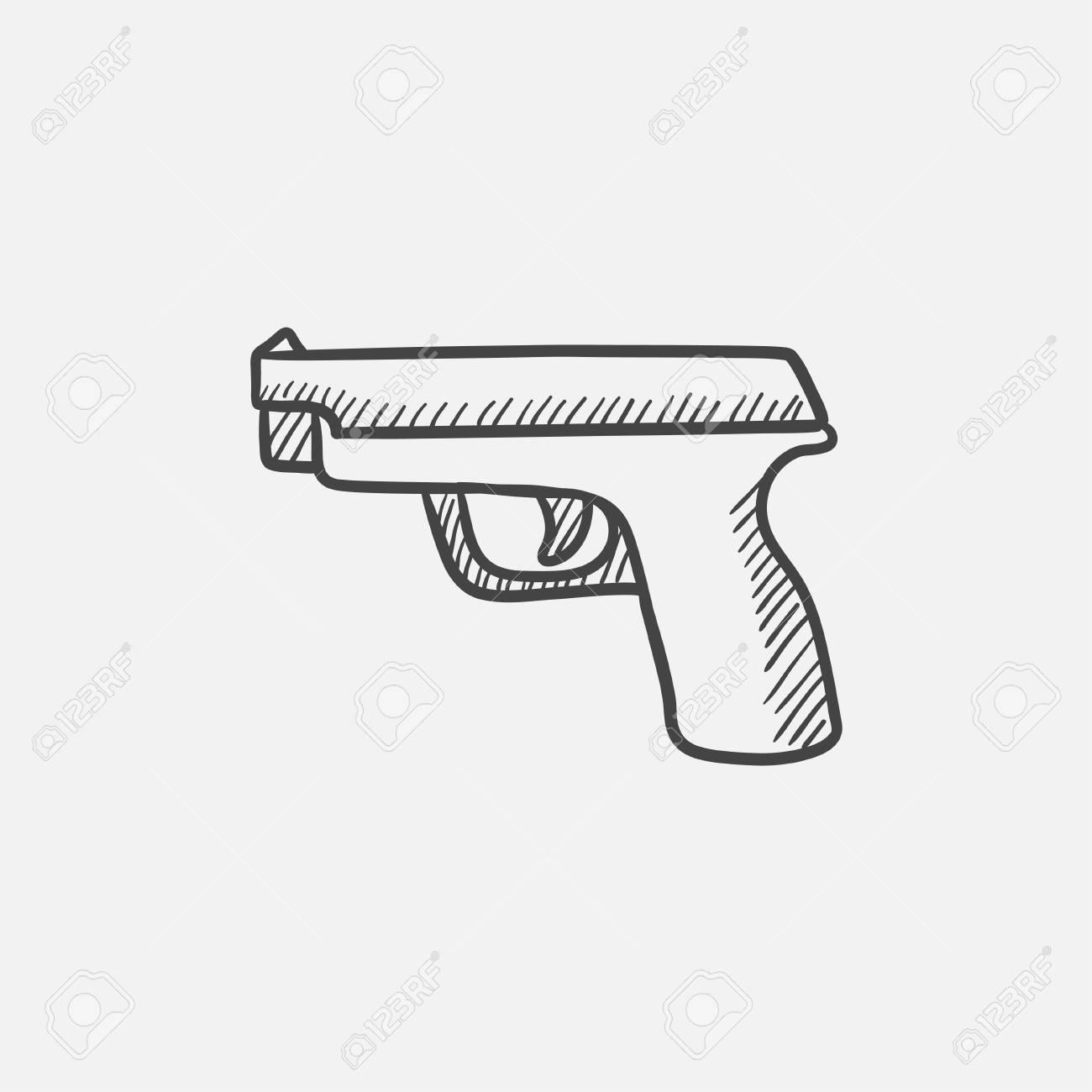 icono de esbozo de pistola para web móvil e infografía mano dibuja