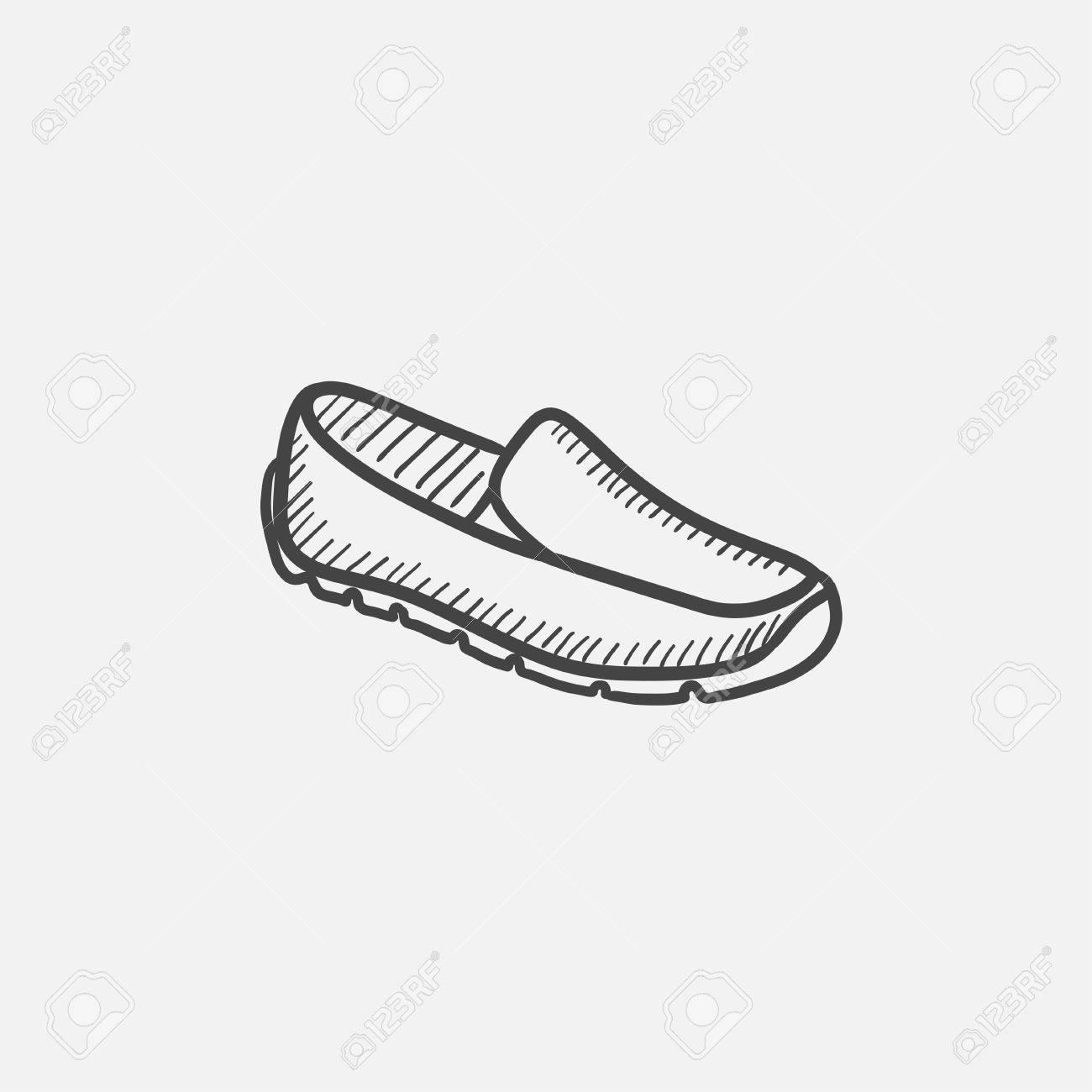 Hombre dibujo icono del zapato para web, móvil y la infografía. aislado vector dibujado a mano icono.