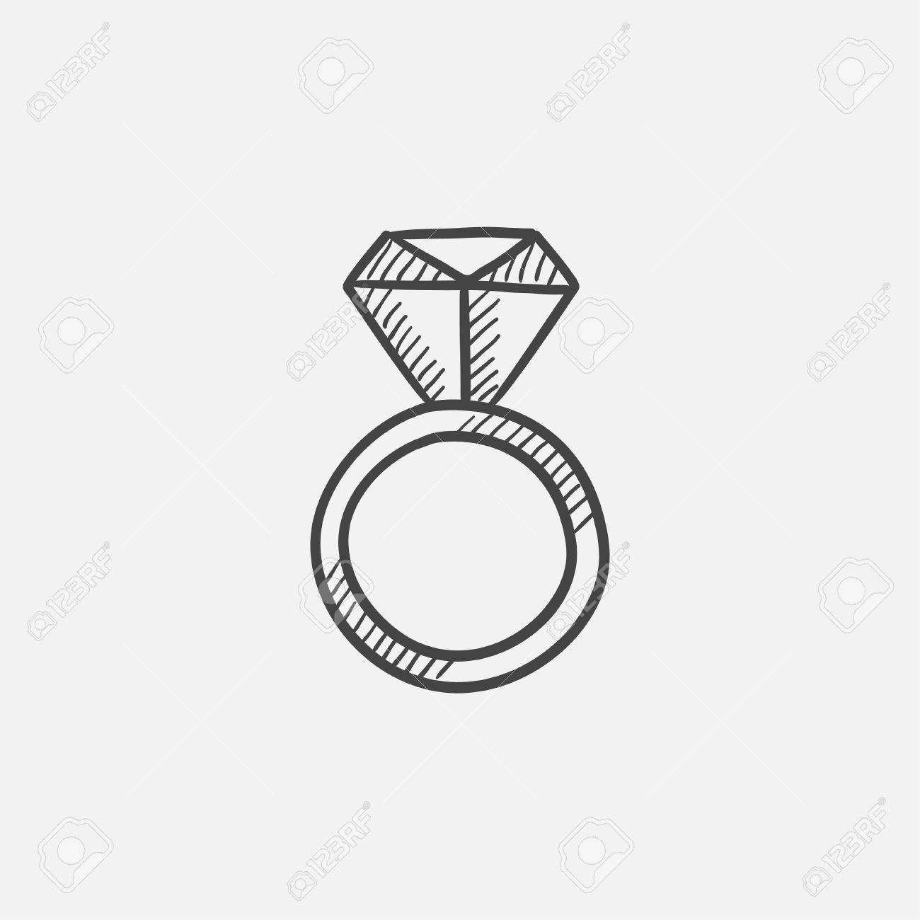 Anillo De Compromiso Con Diamante Dibujo Icono Para Web Móvil Y La