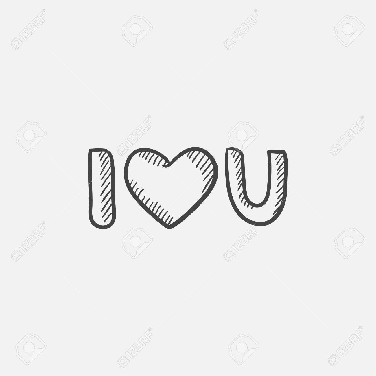 Abbreviation i love you sketch icon for web mobile and infographics hand drawn vector