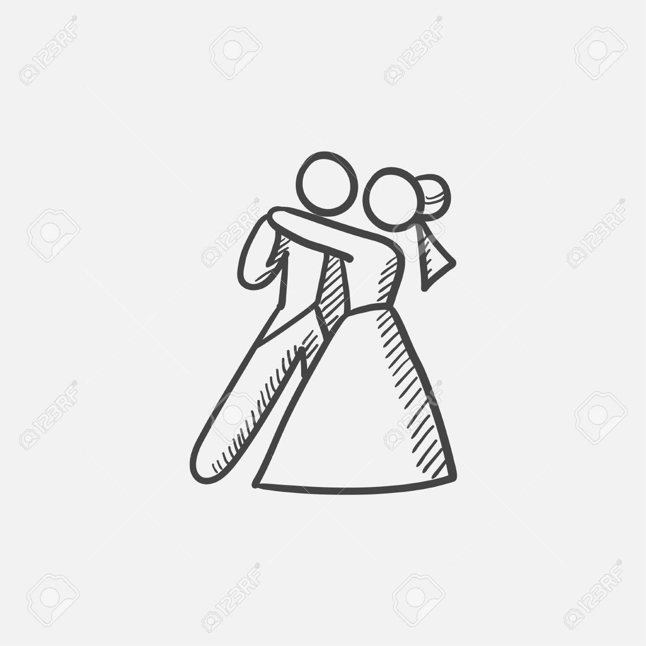 En Primer Dibujo Icono De La Danza De La Boda Para Web Móvil Y La Infografía Aislado Vector Dibujado A Mano Icono