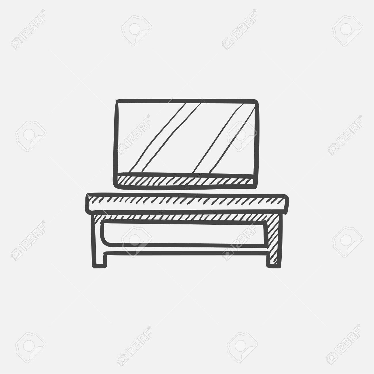 Flat Screen Tv On Modern Tv Stand Sketch Icon For Web Mobile  # Weba Meuble Tv