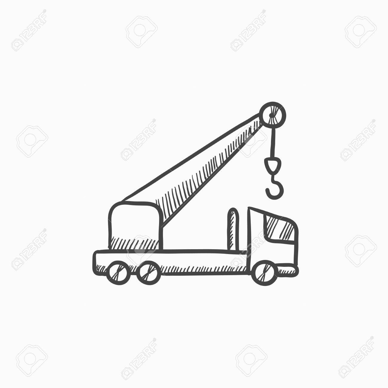 Mobile Crane Vector Sketch Icon Isolated On Background. Hand ...
