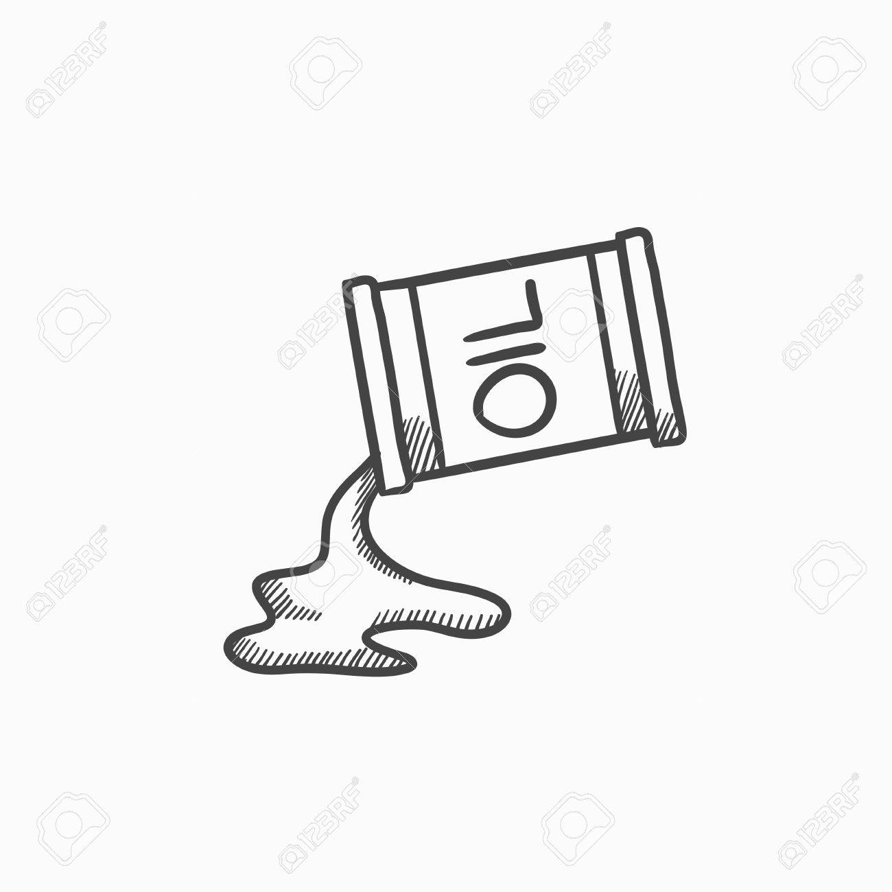 Oil Spilling From Barrel Vector Sketch Icon Isolated On Background ...