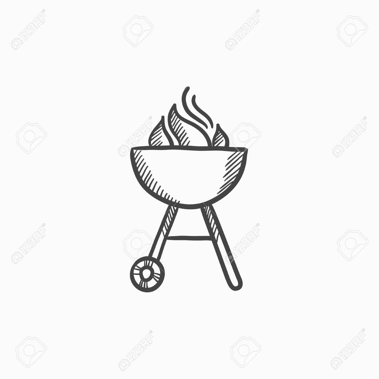 kettle barbecue grill vector sketch icon isolated on background