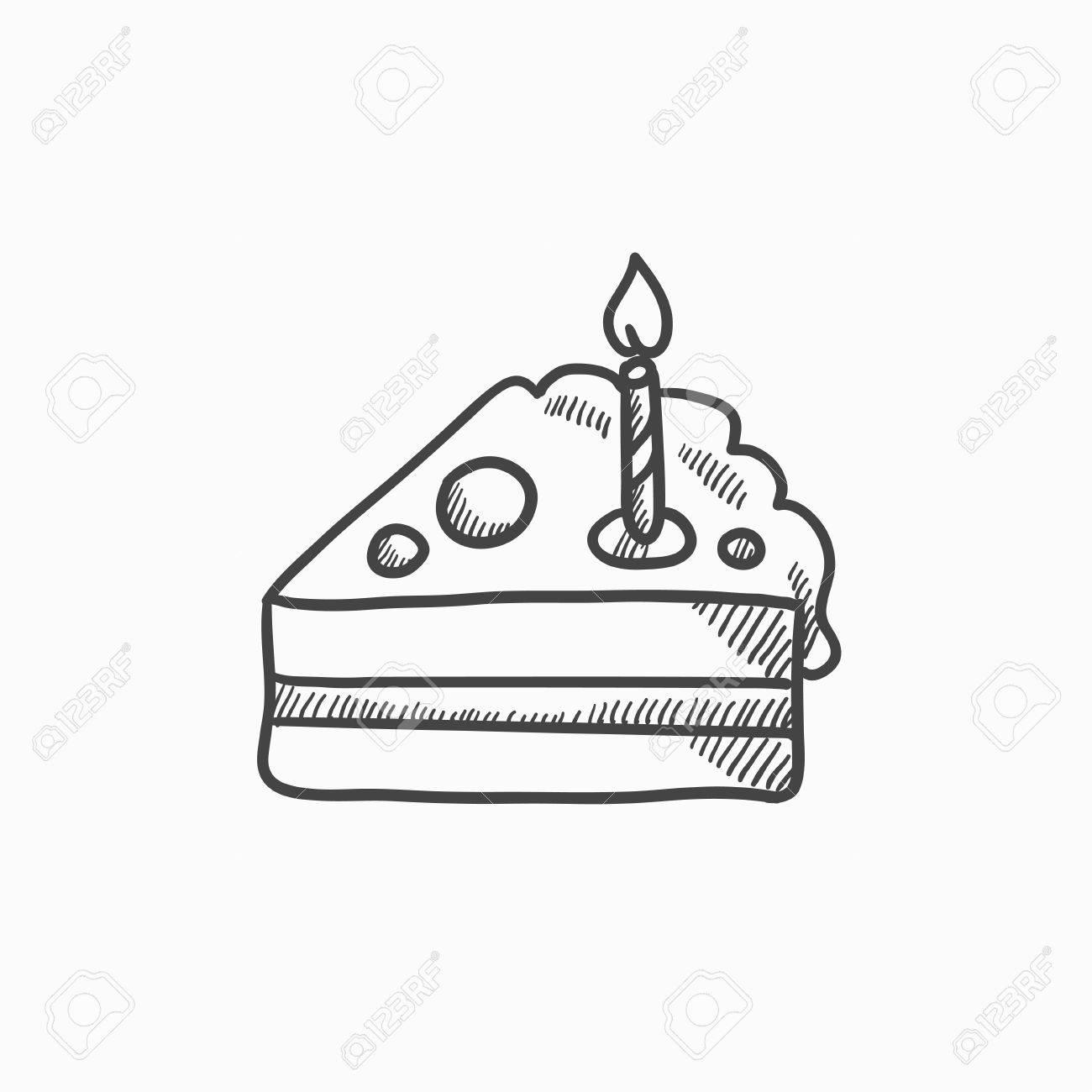 Stuck Kuchen Mit Skizze Symbol Kerze Vektor Auf Hintergrund Hand