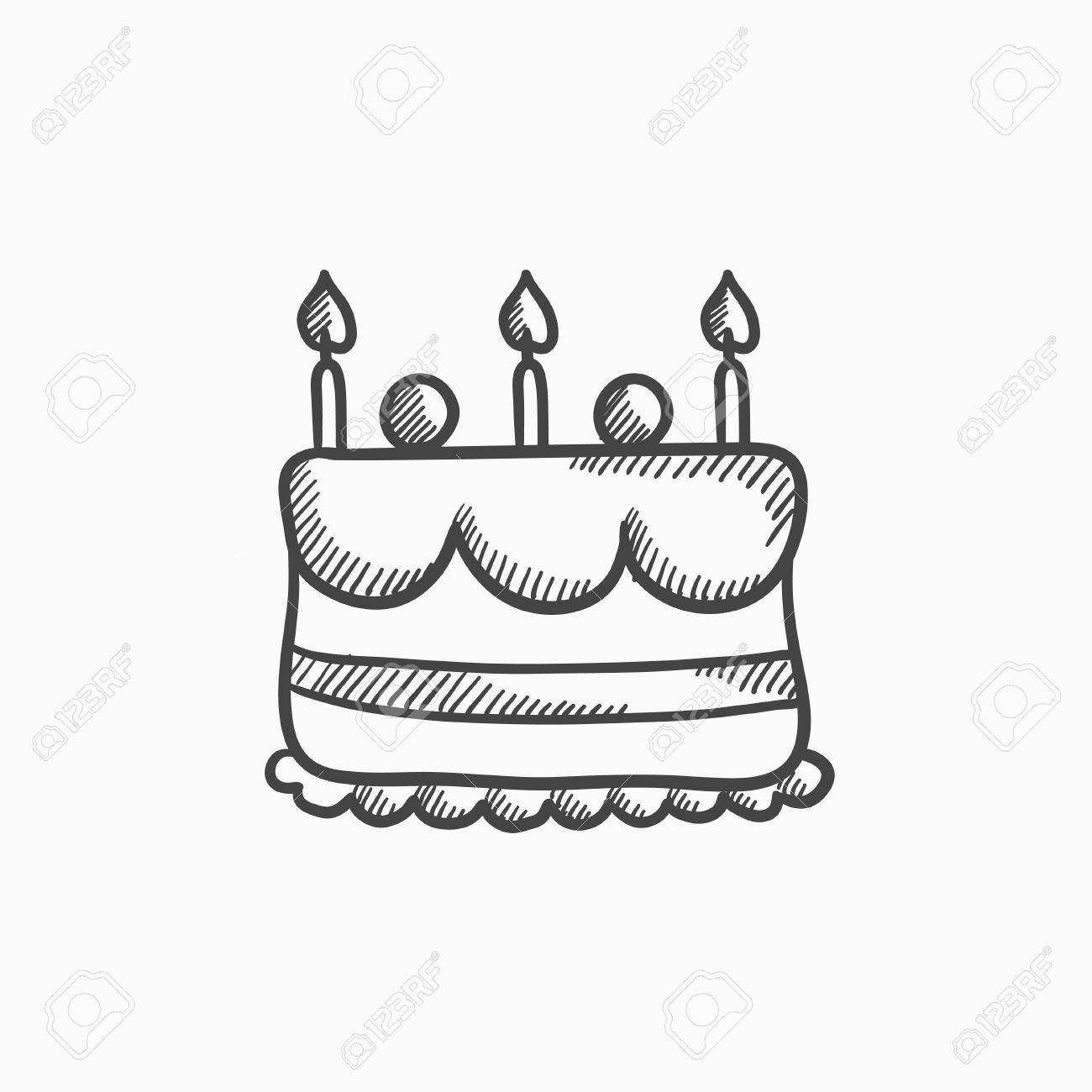Phenomenal Birthday Cake With Candles Vector Sketch Icon Isolated On Birthday Cards Printable Trancafe Filternl