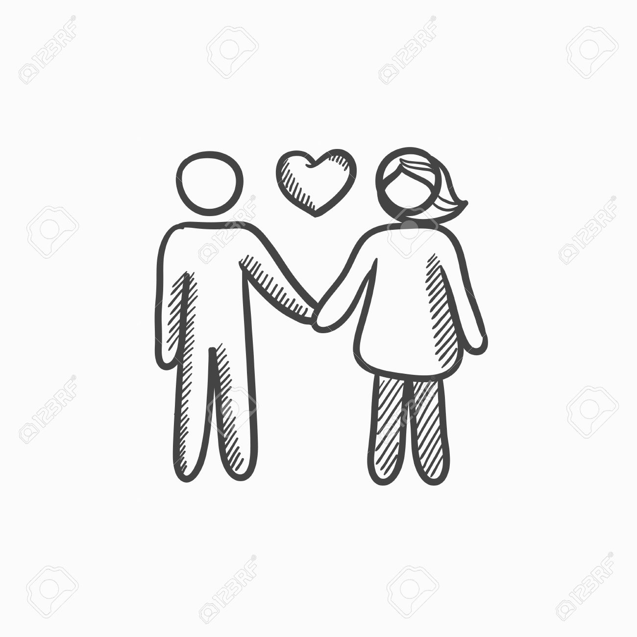 Couple in love vector sketch icon isolated on background hand
