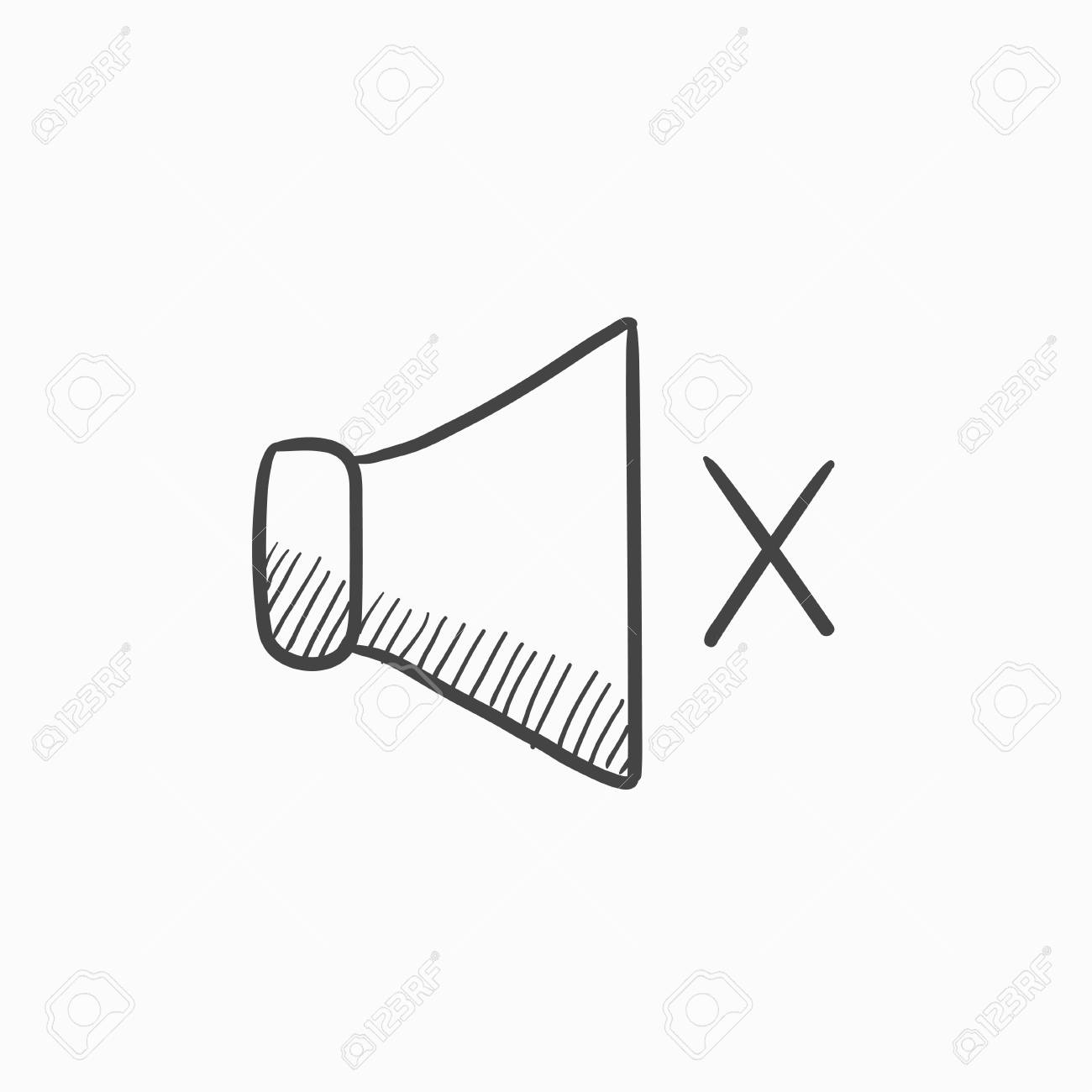 Mute Speaker Vector Sketch Icon Isolated On Background. Hand ...