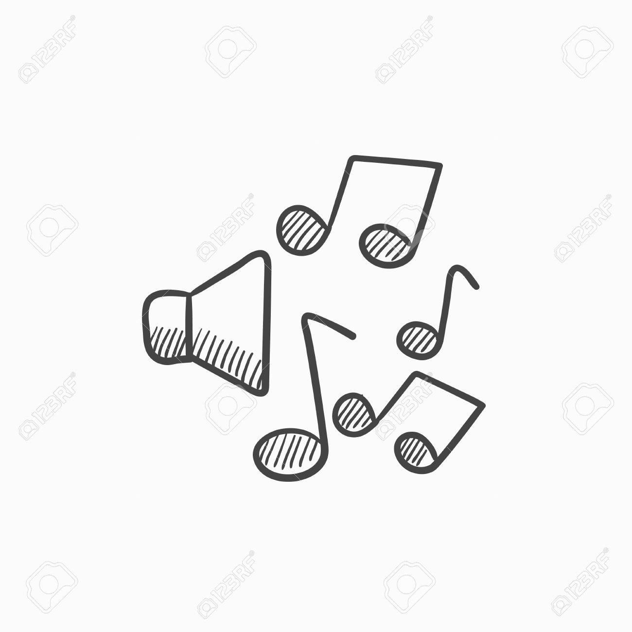 Altavoces Con El Icono De Notas De Música Dibujo De Vectores