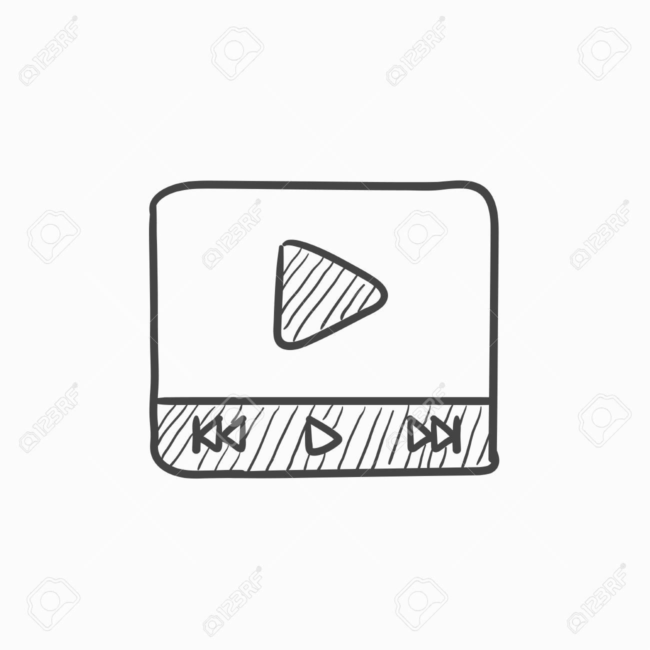 Reproductor De Vídeo Dibujo Icono Del Vector Aislado En El Fondo Dibujado A Mano Icono Del Reproductor De Vídeo Dibujo Icono De Reproductor De Vídeo