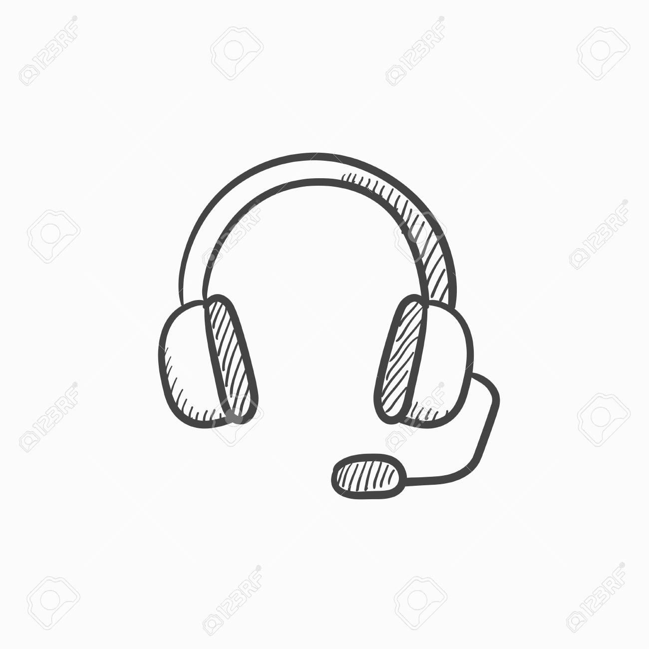 Kopfhorer Mit Mikrofon Vektor Skizze Symbol Isoliert Auf Den