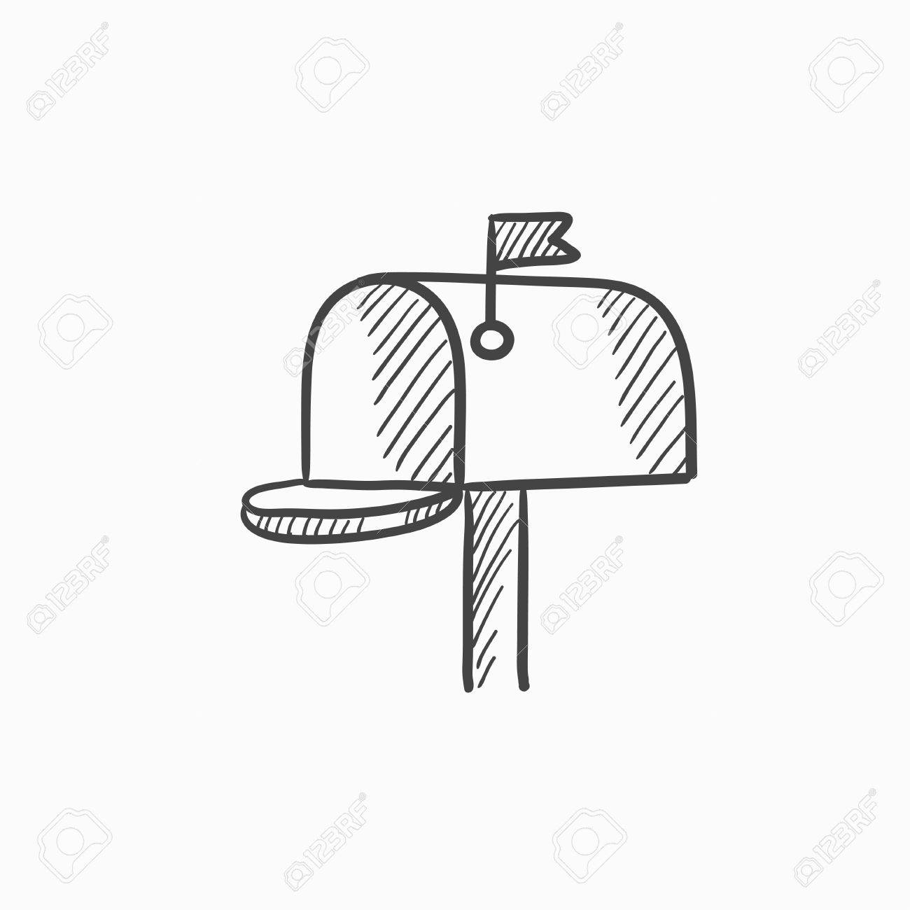 mail box vector sketch icon isolated on background hand drawn