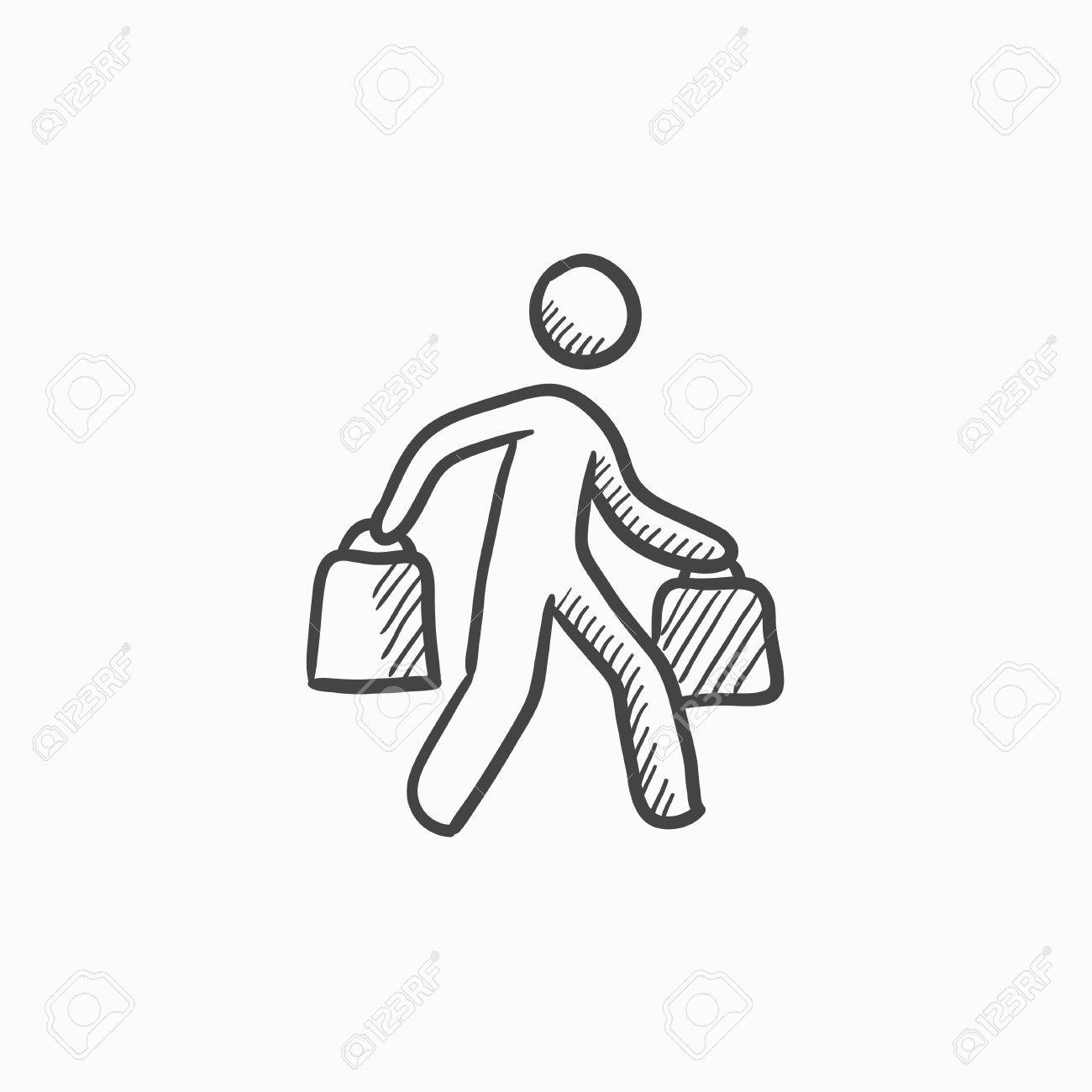 Man Carrying Shopping Bags Vector Sketch Icon Isolated On Background Royalty Free Cliparts Vectors And Stock Illustration Image 61248475