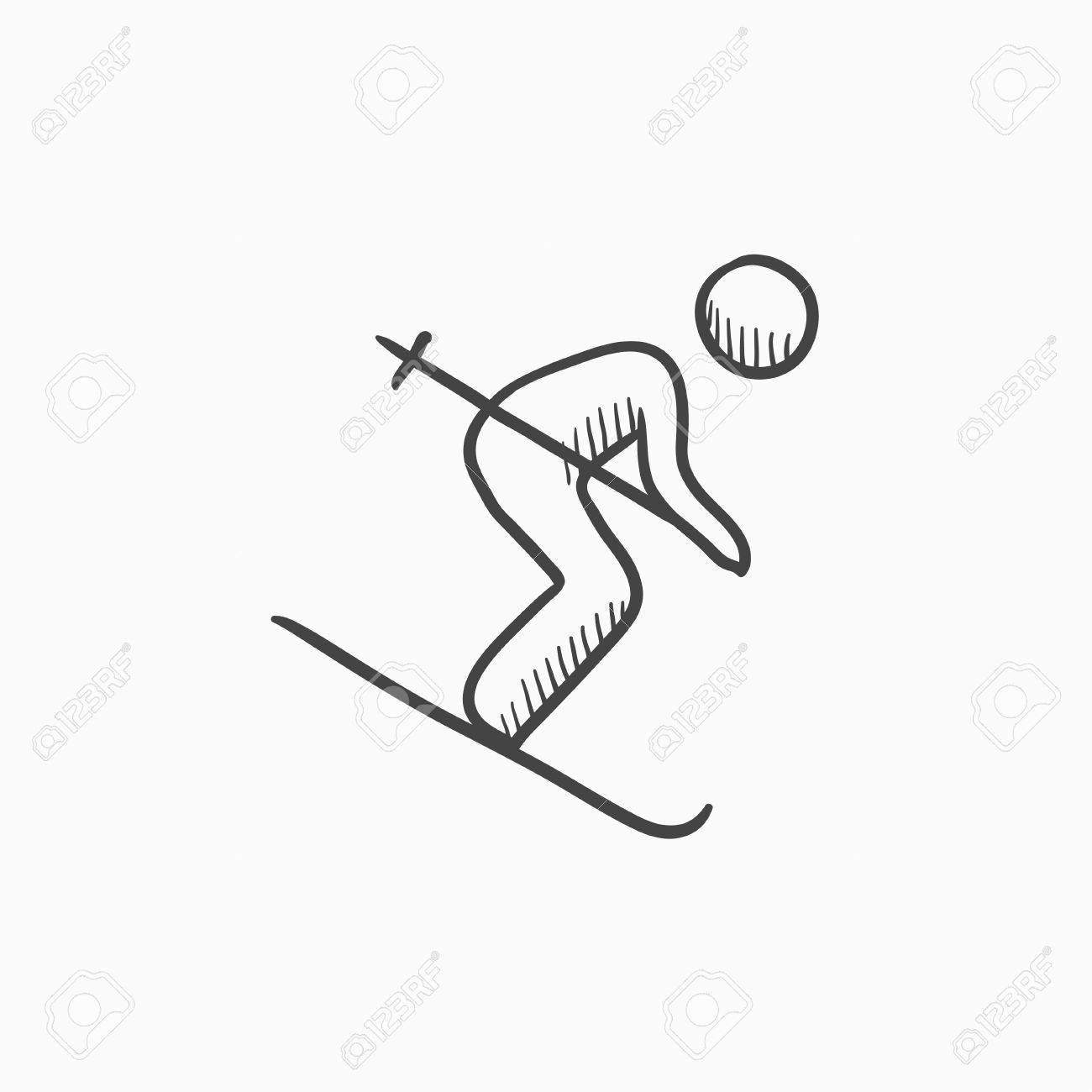 Descenso Dibujo Icono De Esquí Del Vector Aislado En El Fondo Dibujado A Mano Icono De Esquí De Montaña Esquí Alpino Icono De Boceto Para La