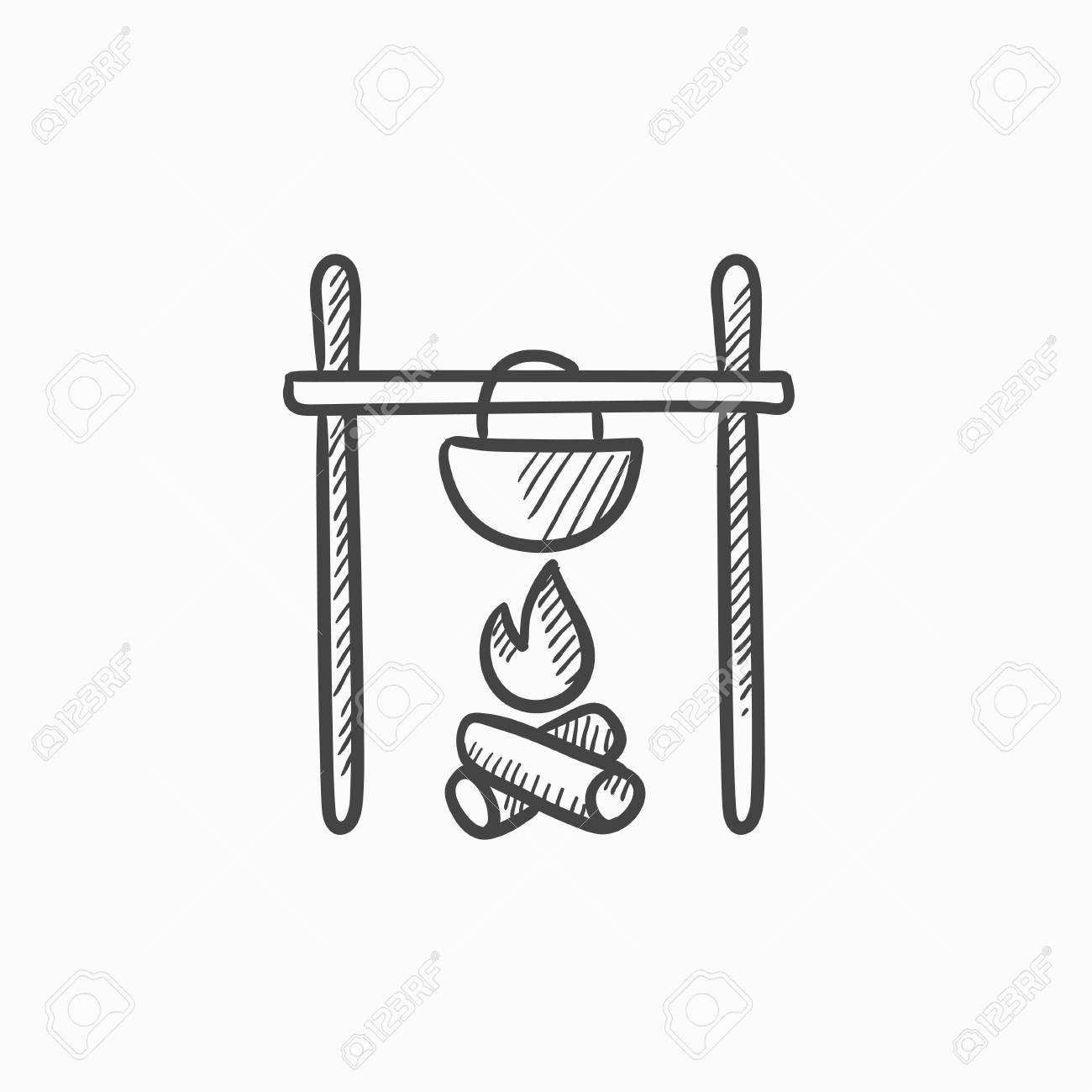 Cooking In Cauldron On Campfire Vector Sketch Icon Isolated Background Hand Drawn