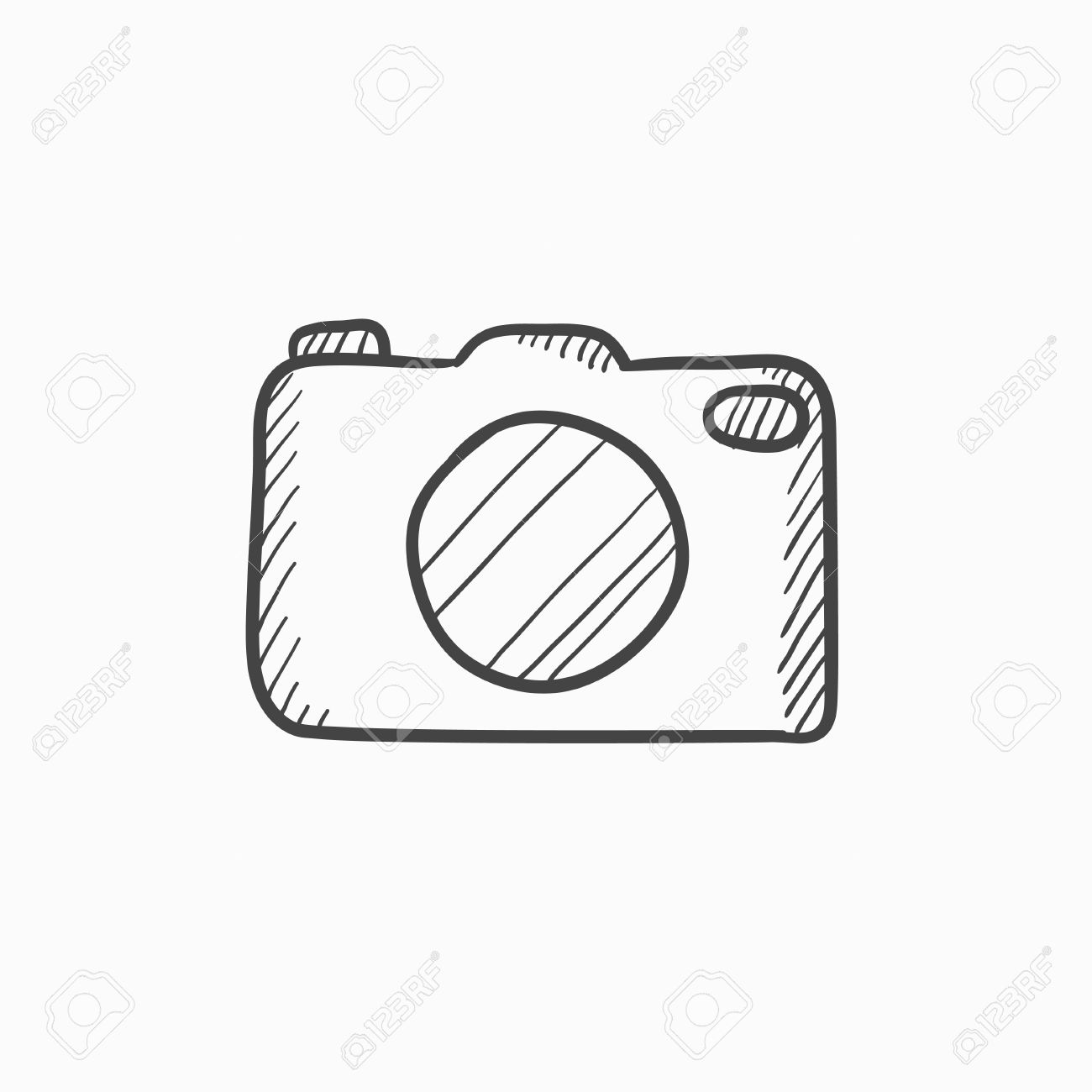 Camera Vector Sketch Icon Isolated On Background Hand Drawn