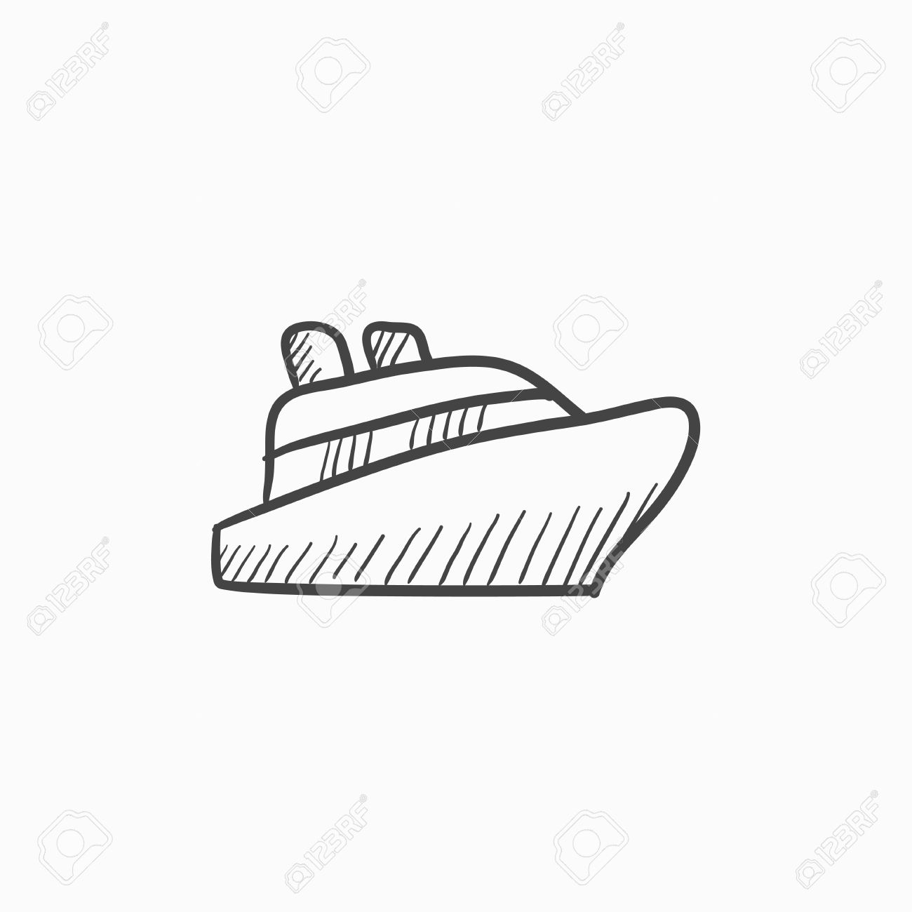 Cruise Ship Vector Sketch Icon Isolated On Background Hand Drawn - Draw a cruise ship
