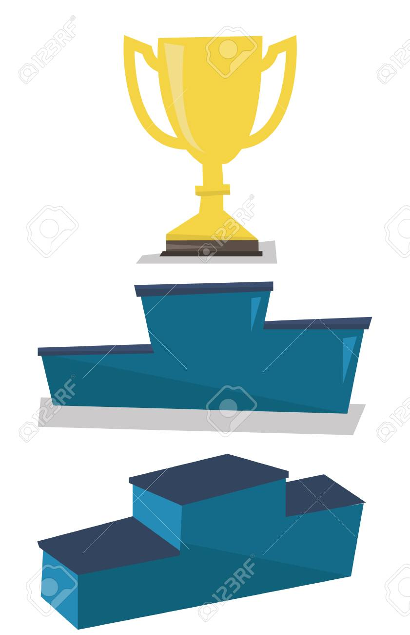 Gold Trophy On Pedestal Vector Flat Design Illustration Isolated White Background Stock
