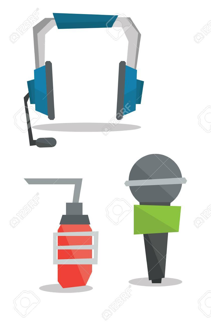 Headphones classic microphone and studio microphone vector flat headphones classic microphone and studio microphone vector flat design illustration isolated on white background ccuart Images