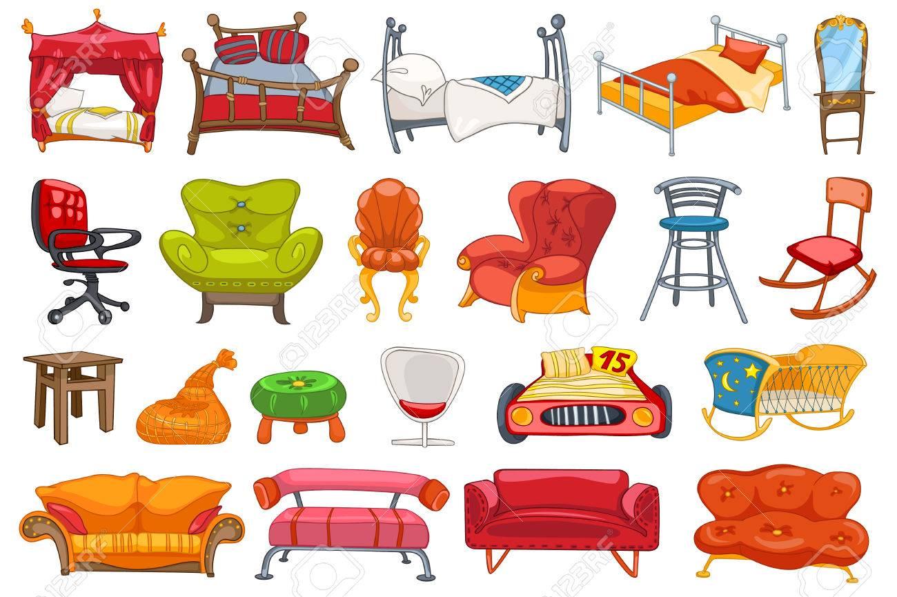 Conjunto De Varios Muebles Como El Sofá, Un Sillón, Una Cama, Un ...