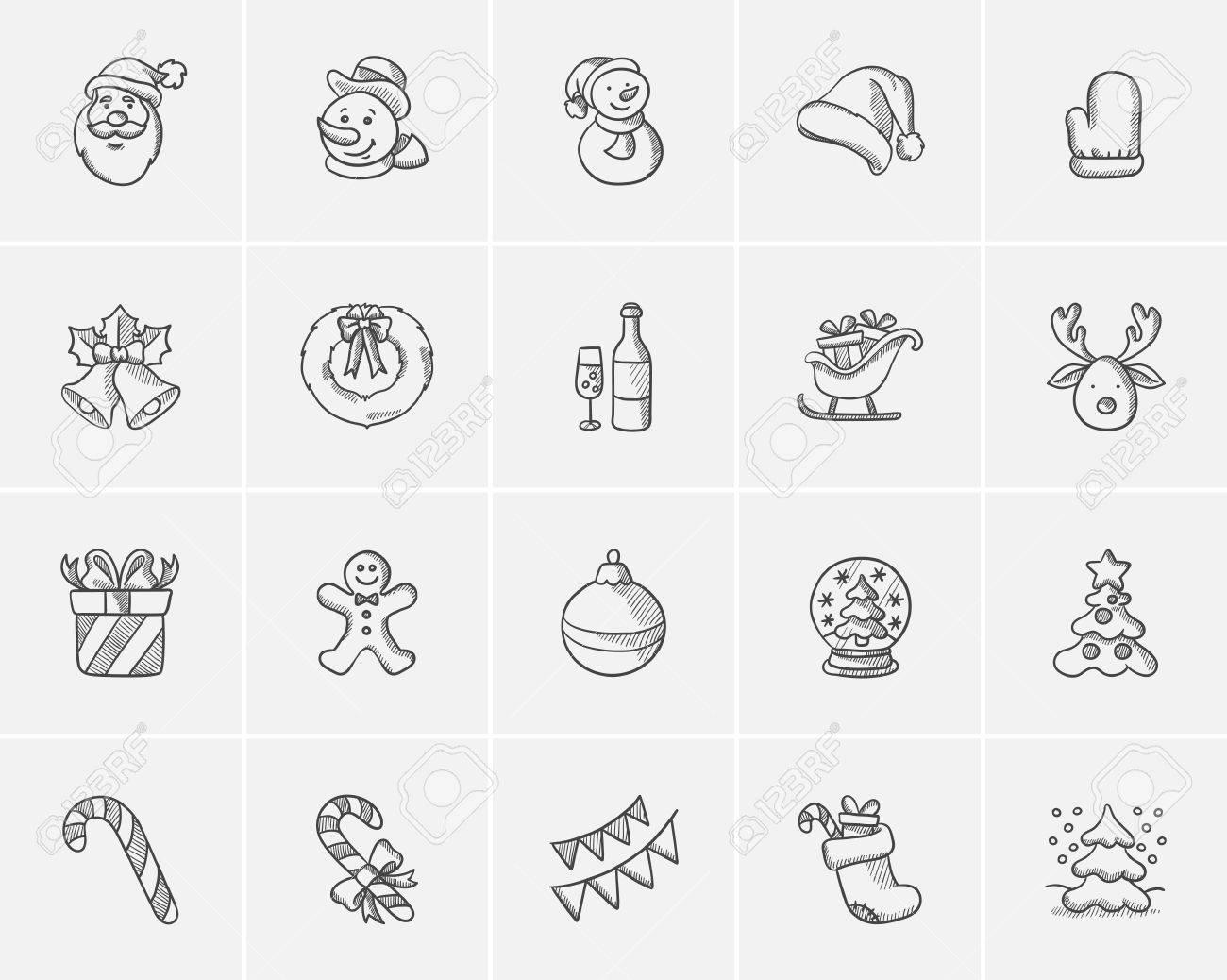 Weihnachten Skizze Symbol Für Web, Mobile Und Infografiken Set. Hand ...