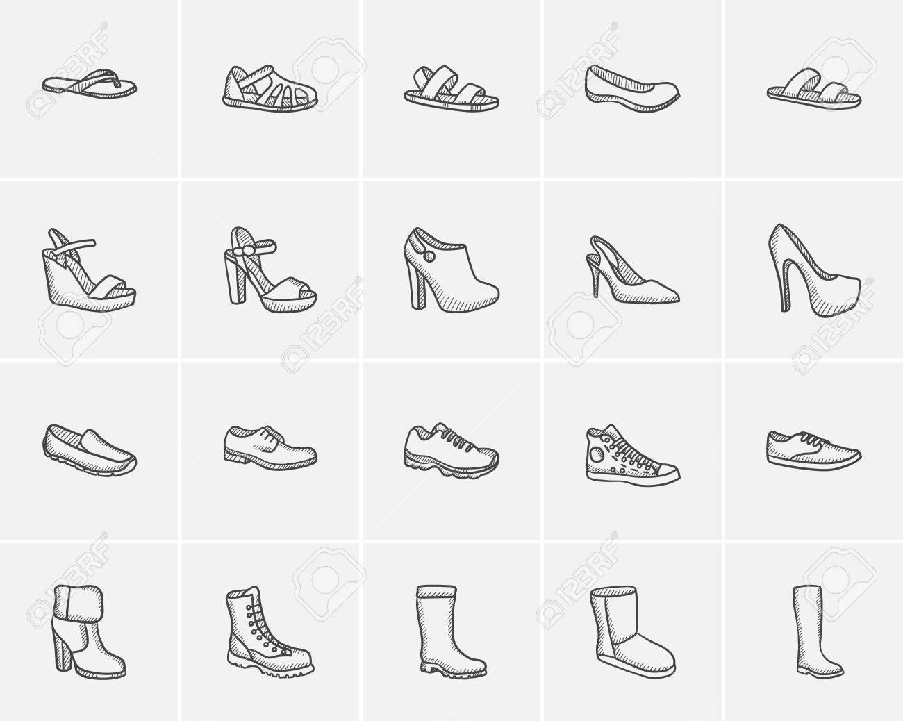 Schuhe Skizze Icon Set Fur Web Handy Und Infografik Hand